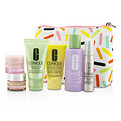 Clinique Travel Set: Sonic Facial Soap + Clarifying Lotion 2 + Ddml + Smart Serum + Moisture Surge Intense + All About Eyes + Bag --6pcs + 1bag for women by Clinique