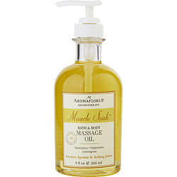 MUSCLE SOAK by Aromafloria - BATH AND BODY MASSAGE OIL 9 OZ BLEND OF EUCALYPTUS, PEPPERMINT, AND LEMONGRASS