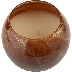 MAHOGANY CANDLE GLOBE by Mahogany Candle Globe - THE INSIDE OF THIS 4 in POLISHED GLOBE IS PAINTED WITH WAX TO CREATE SWIRLS OF GOLD AND RICH HUES AND COMES IN A SATIN COVERED GIFT BOX. CANDLE IS FILLED WITH A TRANSLUCENT WAX AND SCENTED WITH MYSTERIA. BURNS APPROX. 50 HRS