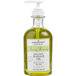 AROMA REMEDY by Aromafloria BATH & BODY MASSAGE OIL 9 OZ BLEND OF TEA TREE, GERANIUM, AND MAY CHANG (PRESERVATIVE FREE) for UNISEX