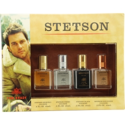 STETSON VARIETY by Coty SET-4 PIECE VARIETY WITH STETSON & STETSON FRESH & STETSON BLACK & STETSON RICH SUEDE AND ALL ARE COLOGNE .5 OZ for MEN