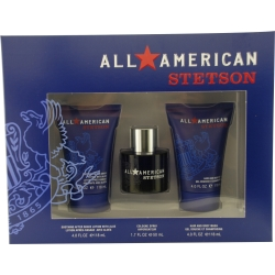 ALL AMERICAN STETSON by Coty SET-COLOGNE SPRAY 1.7 OZ & SOOTHING AFTERSHAVE LOTION WITH ALOE 4 OZ & HAIR AND BODY WASH 4 OZ for MEN