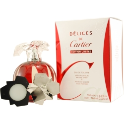 DELICES DE CARTIER by Cartier SET-EDT SPRAY 3.4 OZ & PARFUM SOLIDE 0.035 OZ MINI (LIMITED EDITION) for WOMEN