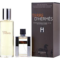 TERRE D'HERMES by Hermes SET-EDT SPRAY REFILLABLE 1 OZ (H BOTTLE LIMITED EDITION) & EDT REFILL 4.2 OZ for MEN