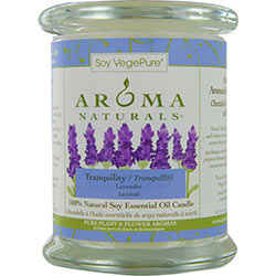 TRANQUILITY AROMATHERAPY by Tranquility Aromatherapy ONE 3.7x4.5 inch MEDIUM GLASS PILLAR SOY AROMATHERAPY CANDLE.  THE ESSENTIAL OIL OF LAVENDER IS KNOWN FOR ITS CALMING AND HEALING BENEFITS.  BURNS APPROX. 45 HRS. for UNISEX