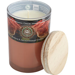 OPIUM CANDLE by Terra Essential Scents MASSAGE SOY CANDLE 12 OZ TUMBLER. AN ALLURING & SENSUAL BLEND WITH GARNET GEMSTONE. BURNS APPROX. 30+ HOURS for UNISEX