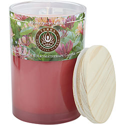 HONEYSUCKLE & ROSE by Terra Essential Scents MASSAGE & AROMATHERAPY SOY CANDLE 12 OZ TUMBLER. A PEACEFUL & UPLIFTING BLEND WITH ROSE QUARTZ GEMSTONE. BURNS APPROX. 30+ HOURS for UNISEX