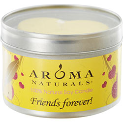 FRIENDS FOREVER AROMATHERAPY ONE 6.5 inch TIN SOY AROMATHERAPY CANDLE WITH YELLOW HEART. COMBINES THE ESSENTIAL OILS OF ORANGE & LEMONGRASS. BURNS APPROX. 40 HRS. for UNISEX