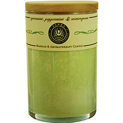 SPEARMINT, PEPPERMINT & WINTERGREEN MASSAGE & AROMATHERAPY SOY CANDLE 12 OZ TUMBLER. A REFRESHING & UPLIFTING BLEND WITH CLEAR QUARTZ GEMSTONE. BURNS APPROX. 30+ HOURS for UNISEX