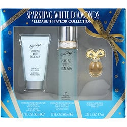 WHITE DIAMONDS SPARKLING by Elizabeth Taylor SET-EDT SPRAY 1.7 OZ & BODY LOTION 1.7 OZ & WHITE DIAMONDS PARFUM .12 OZ MINI for WOMEN