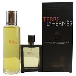 TERRE-DHERMES-by-Hermes-SET-PARFUM-SPRAY-REFILLABLE-1-OZ-PARFUM-REFILL-4-2-OZ-for-MEN