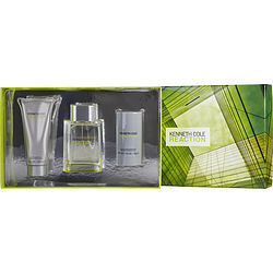 Kenneth Cole Reaction By Kenneth Cole Set-Edt Spray 3.4 Oz & Aftershave Balm 3.4 Oz & Deodorant Stick Alcohol Free 2.6 Oz For Men