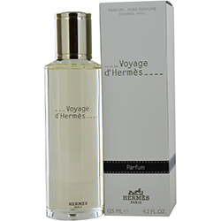 VOYAGE D'HERMES by Hermes PARFUM REFILL 4.2 OZ for UNISEX Launched by the design house of Hermes in 2012, VOYAGE D'HERMES by Hermes for UNISEX posesses a blend of: Cardamom, Spices, Amalfi Lemon, Green Notes, Floral Notes, Tea, Musk, Woody Notes It is recommended for casual wear.