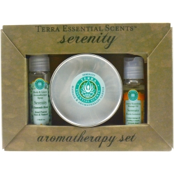 SERENITY SET-TRAVEL TIN CANDLE 3 OZ & AROMATHERAPY SPRAY 1 OZ & MASSAGE OIL 1 OZ for UNISEX