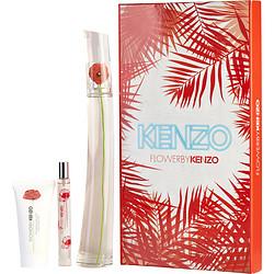 KENZO FLOWER by Kenzo SET-EDP SPRAY 3.4 OZ & BODY MILK 1.7 OZ & EDP SPRAY 0.5 OZ MINI for WOMEN
