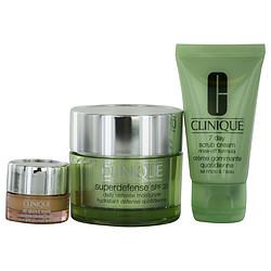 CLINIQUE by Clinique Travel Set: 7 Day Scrub 1 oz + Supertendense SPF 20 1.7 oz + All About Eyes .17 oz + Bag for WOMEN
