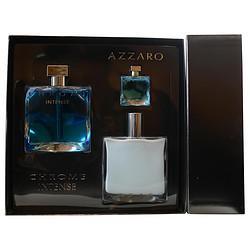 CHROME INTENSE by Azzaro SET-EDT SPRAY 3.4 OZ & AFTERSHAVE BALM 3.4 OZ & EDT .24 OZ MINI for MEN