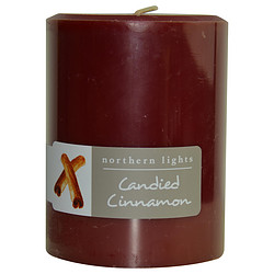 CANDIED CINNAMON ONE 3x4 inch PILLAR CANDLE. BURNS APPROX. 80 HRS. for UNISEX