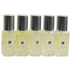JO MALONE VARIETY by Jo Malone SET-5 PIECE MINI VARIETY WITH LIME BASIL MANDRIN & GRAPEFRUIT & POMEGRANATE NOIR & ORANGE BLOSSOM & AMBER LACENDER AND ALL ARE COLOGNE SPRAY 0.3 OZ MINIS for WOMEN 289455