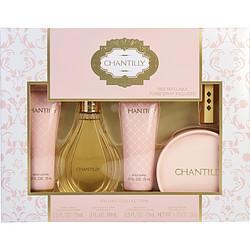 Chantilly By Dana Set-Edt Spray 3 Oz & Dusting Powder 1.75 Oz & Body Lotion 2.5 Oz & Body Wash 2.5 Oz & Free Edt Refillable Purse Spray (Empty) For Women