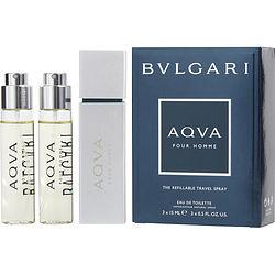 BVLGARI AQUA by Bvlgari SET-EDT REFILLABLE SPRAY .5 OZ & EDT REFILL SPRAY .5 OZ (TWO PIECES) for MEN
