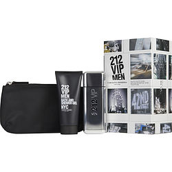 212 Vip By Carolina Herrera Set-Edt Spray 3.4 Oz & Shower Gel 3.4 Oz & Travel Bag For Men