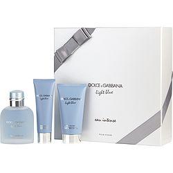 D & G LIGHT BLUE EAU INTENSE by Dolce & Gabbana SET-EAU DE PARFUM SPRAY 3.3 OZ & AFTERSHAVE BALM 2.5 OZ & SHOWER GEL 1.6 OZ for MEN 302559