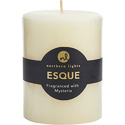 MYSTERIA ESQUE ONE 3x4 inch PILLAR ESSENTIAL BLENDS CANDLE. BURNS APPROX. 80 HRS. for UNISEX