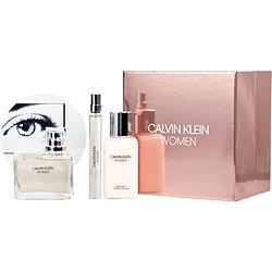 CALVIN KLEIN WOMEN by Calvin Klein SET-EDP SPRAY 3.4 OZ & BODY LOTION 3.4 OZ & EDP PEN SPRAY .33 OZ for WOMEN
