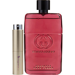 GUCCI GUILTY ABSOLUTE POUR FEMME by Gucci EAU DE PARFUM SPRAY .27 OZ (TRAVEL SPRAY) for WOMEN Launched by the design house of Gucci in 2017, GUCCI GUILTY ABSOLUTE POUR FEMME by Gucci for WOMEN posesses a blend of: Patchouli, Cypress, Vetiver, Woody Notes, Leather It is recommended for wear.