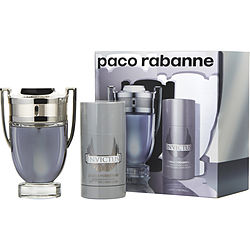 INVICTUS by Paco Rabanne SET-EDT SPRAY 3.4 OZ & DEODORANT STICK ALCOHOL FREE 2.5 OZ (TRAVEL OFFER) for MEN