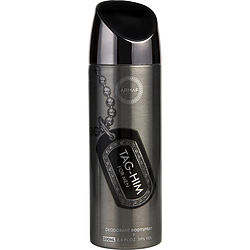 ARMAF TAG HIM by Armaf DEODORANT BODY SPRAY 6.7 OZ for MEN Launched by the design house of Armaf in Unknown, ARMAF TAG HIM by Armaf for MEN posesses a blend of: Bergamot, Grapefruit, Ginger, Cedar, Sandalwood It is recommended for wear.