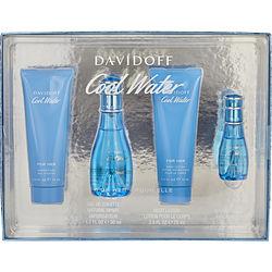COOL WATER by Davidoff SET-EDT SPRAY 1.7 OZ & BODY LOTION 2.5 OZ & SHOWER GEL 2.5 OZ & EDT SPRAY 0.5 OZ MINI for WOMEN