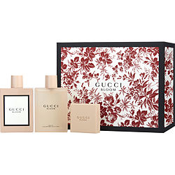 GUCCI BLOOM by Gucci SET-EAU DE PARFUM SPRAY 3.3 OZ & BODY OIL 3.3 OZ & SOAP 3.5 OZ for WOMEN Launched by the design house of Gucci in 2017, GUCCI BLOOM by Gucci for WOMEN posesses a blend of: Jasmine, Rangoon Creeper, Tuberose It is recommended for wear.