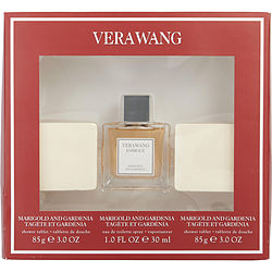 VERA WANG EMBRACE by Vera Wang SET-MARIGOLD & GARDENIA EDT SPRAY 1 OZ & SHOWER TABLET 2 X 3 OZ EACH for WOMEN Launched by the design house of Vera Wang in 2015, VERA WANG EMBRACE by Vera Wang for WOMEN posesses a blend of: Rose, Mandarin orange, Cyclamen, Iris, Magnolia It is recommended for wear.